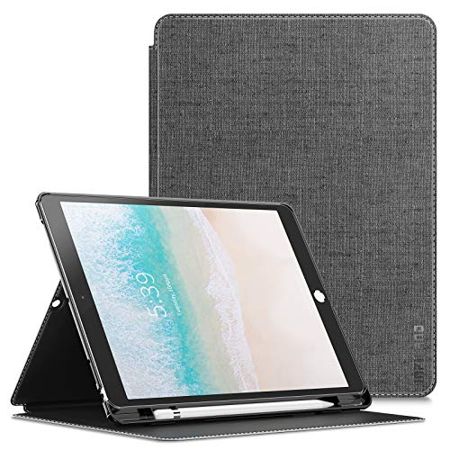 Infiland iPad Pro 10.5 Case with Apple Pencil Holder, Multiple Angles Stand Case for iPad Pro 10.5 Inch Model A1709/A1701 2017 Released Support Auto Wake/Sleep, Gray