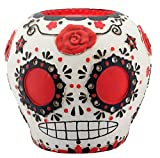 Day of The Dead Red Sugar Skull with Floral Decoration Figurine