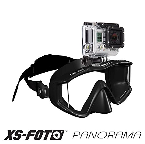 XS Foto Panorama - 3 Window - Extra Qwik Comfort Strap - Built-in Stainless Steel Camera Mount - Diving Mask for GoPro, GoMask (Black Silicone) (MA580BS)