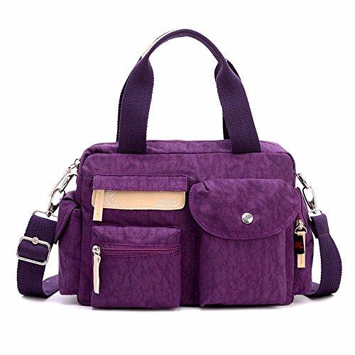 Lienzo bolso de mano, bolso de hombro, bolso de nylon Oxford Cloth Lady bag, Leisure,Azul marino Violeta