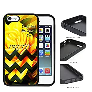 Yellow Rose Flower And Green Chevron Don't Hate Me Script Rubber Silicone TPU Cell Phone Case Apple iPhone 5 5s