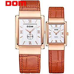 Sheli Rose Gold Square Genuine Leather Wedding Best Gifts Watch for Woman and Man Lovers