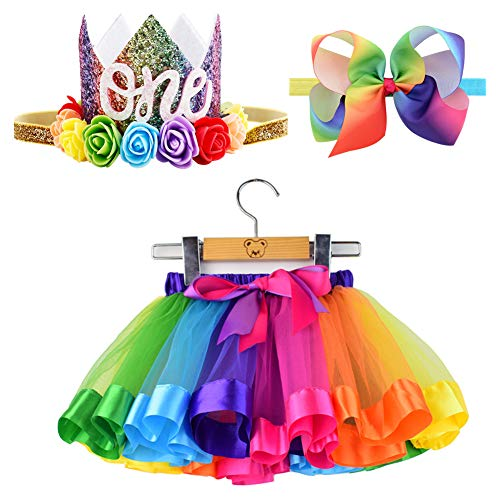 (BGFKS Tulle Rainbow Tutu Skirt for Newborn Baby Girls Photography Outfit Sets Baby Girls 1st Birthday (Rainbow-Crown, S,0-24)