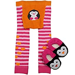 Waddle Penguin Baby Girl Leggings / Footless Baby Tights and Slippers, 0-12 Months