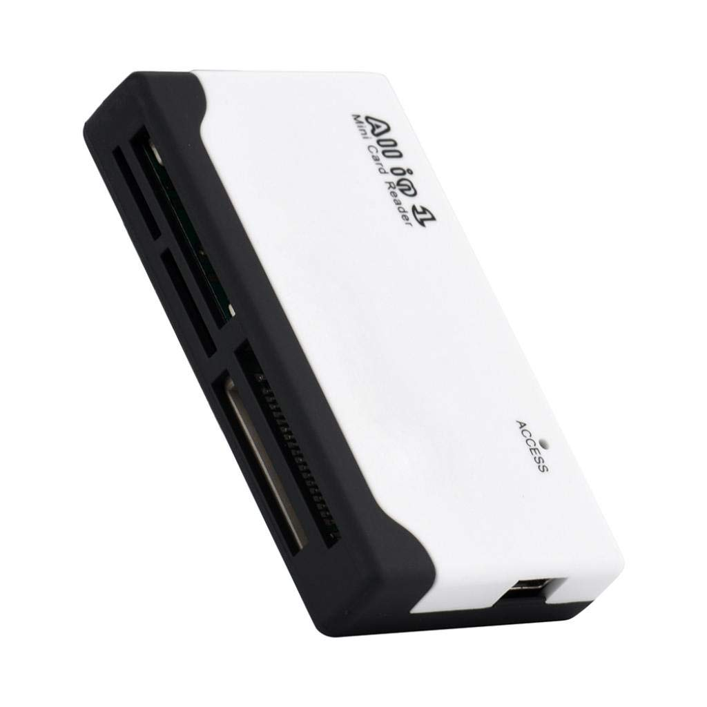Botrong All in 1 Multi Memory Card USB Reader For SD SDHC Mini Micro M2 MMC XD CF MS (White)