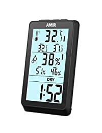 AMIR Indoor Hygrometer Thermometer, Digital Humidity Monitor with Temperature Gauge & LCD Display, Multifunctional Weather Station Monitor Sensor Room Thermometer for Home, Bedroom, etc. BOBEBE Online Baby Store From New York to Miami and Los Angeles