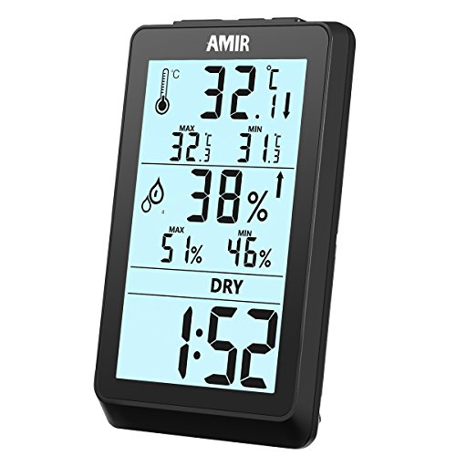 Lcd Temperature Thermometer (AMIR Indoor Hygrometer Thermometer, Digital Humidity Monitor with Temperature Gauge & LCD Display, Multifunctional Weather Station Monitor Sensor Room Thermometer for Home, Bedroom, etc.)