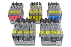 Set 20 cartuchos de tinta marca vhbw para Brother MFC-J6710, MFC-J6710DW, MFC-J6910, MFC-J6910DW sustituye LC1240BK, LC1240C, LC1240M, LC1240Y.