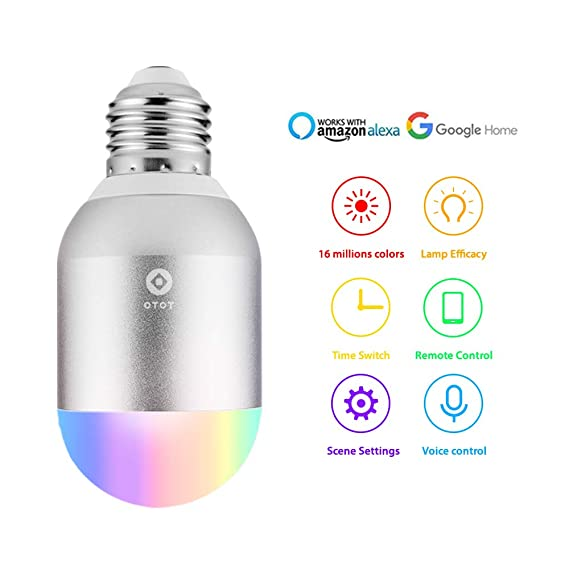 Wifi Smart Birne,OTOT Mehrfarbige LED Dimmbare Lampe 5W RGB Glühbirne,Smartphone gesteuert Tageslicht & Nachtlicht,arbeitet m
