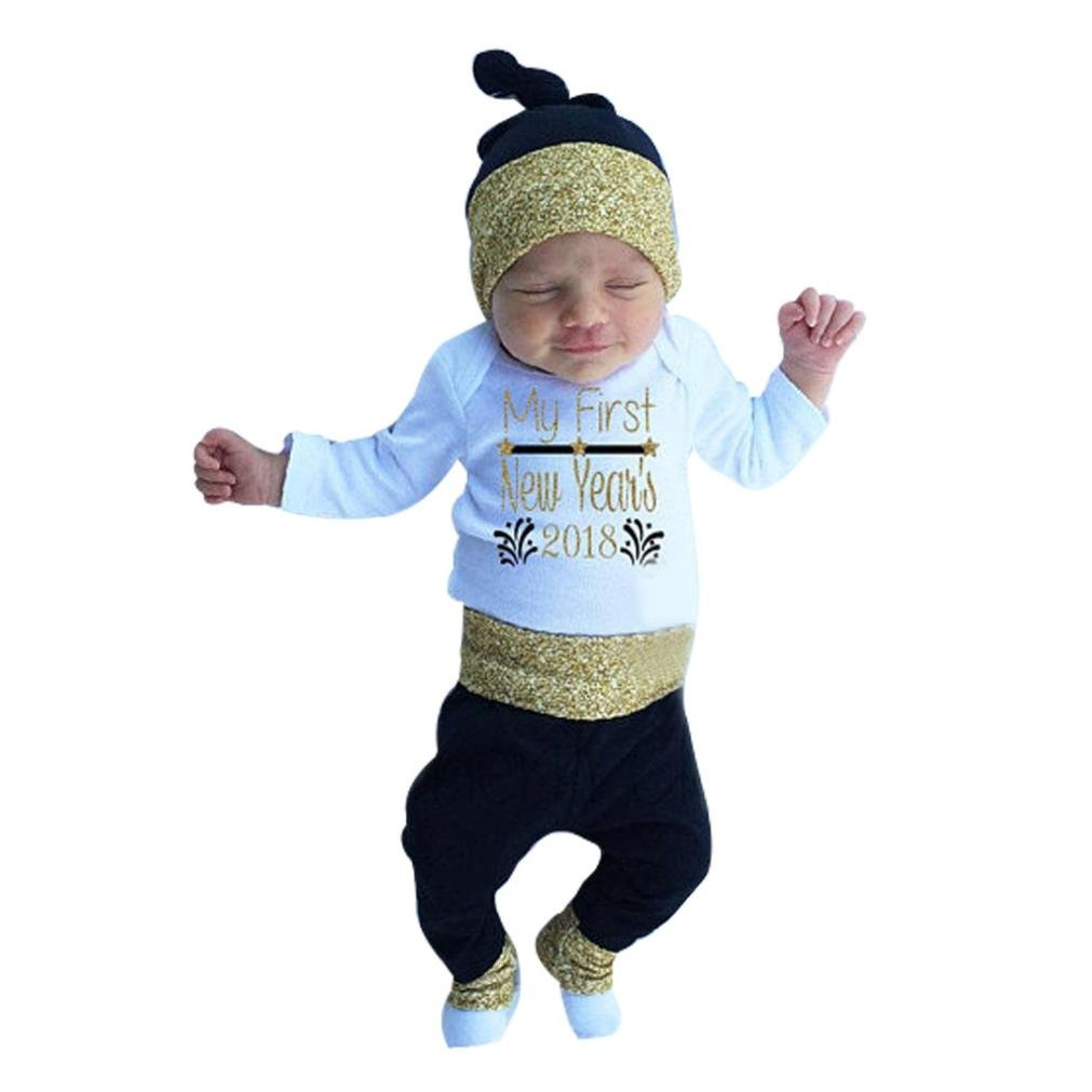 SHOBDW Boys Clothing Sets, Baby Girl 2018 Happy New Year Shiny Letter Romper Tops + Pants + Hat Newborn Infant Outfits SHOBDW-029