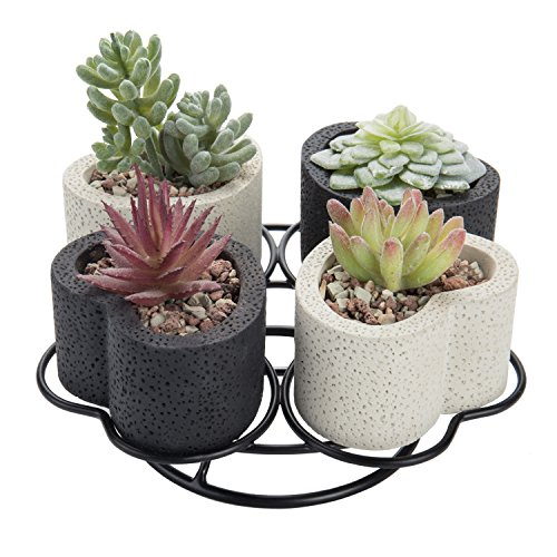 MyGift Black & White Heart-Shaped Tabletop Planter Set with Metal Stand -