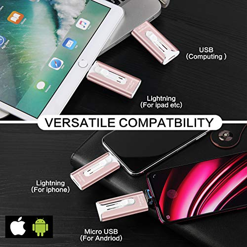 USB Flash Drive for iPhone USB Stick 128GB External Storage Memory Stick XG 3in1 OTG Drive Compatible to iPhone,iPad,iPod,Mac,Android and Computer (Pink-128GB) (Pink-128GB2) by XG Inc (Image #2)