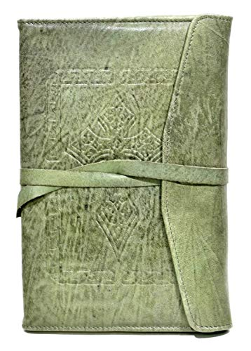 TooG 1495 Real Leather Journal Writing Diary, Rustic Soft Lamb Leather with Celtic Cross Embossing, Unlined Ivory 5x8 Note Book for Sketching and Writers, with Pen and Card Holder (Green Vintage)