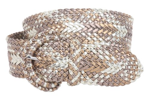- 2 Inch Wide Hand Made Soft Metallic Woven Crack Multi Braided Round Belt Size: M/L - 41 END-TO-END Color: Multi