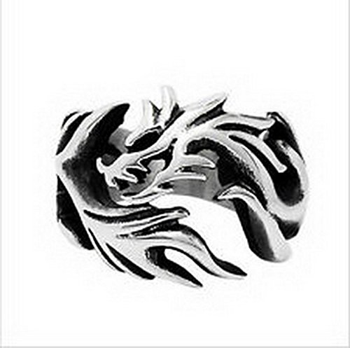 jacob alex ring Jewelry Titanium Steel Ring Band Dragon Women's Silver Size6 Engagement Gift ()