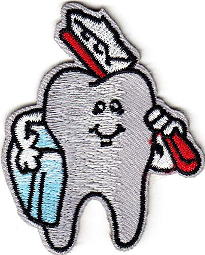 (TOOTH w/TOOTHBRUSH - DENTAL - PROFESSION - MEDICAL - IRON ON EMBROIDERED PATCH)
