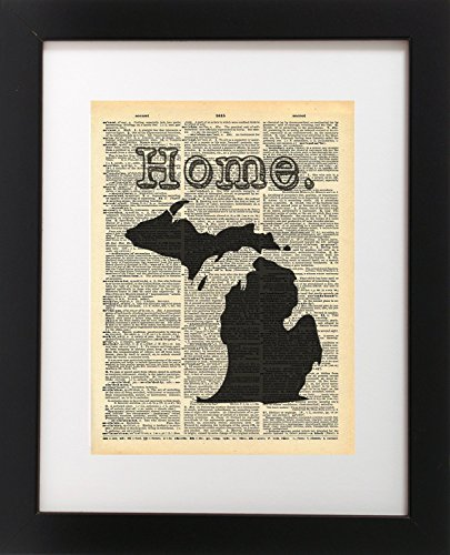 michigan-state-vintage-map-vintage-dictionary-print-8x10-inch-home-vintage-art-abstract-prints-wall-
