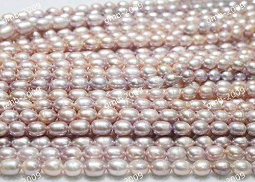 Fricgore, Handmade Jewelry, 6-7mm&7-8mm Lavender Rice Freshwater Pearl Oval Loose Beads 15