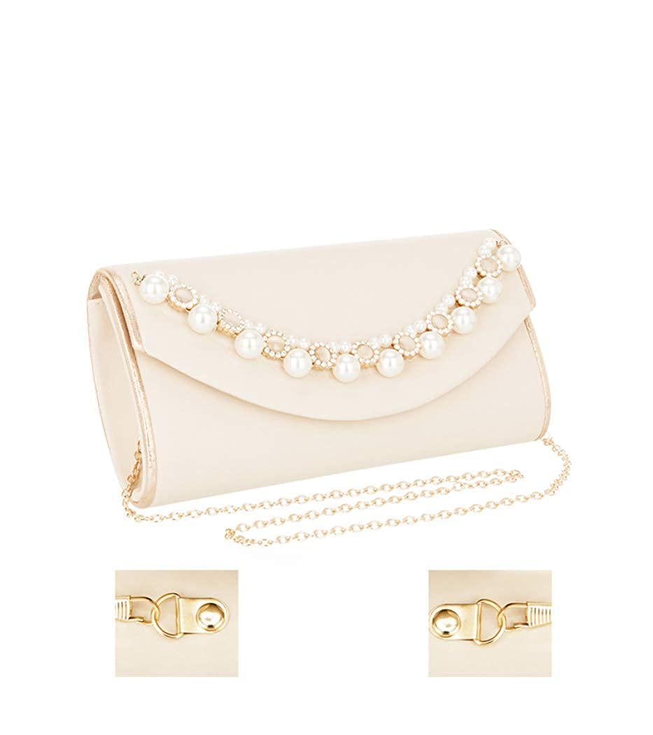 Hurber Womens Beaded Rectangle Evening Handbag Clutch Wedding Party Purse Vintage Bags With Hanging Strap