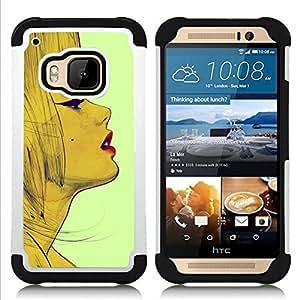 - retro vintage fashion woman lips face/ H??brido 3in1 Deluxe Impreso duro Soft Alto Impacto caja de la armadura Defender - SHIMIN CAO - For HTC ONE M9