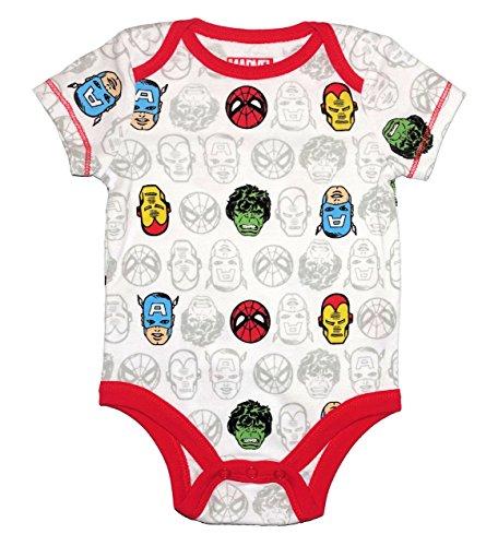 Bentex Marvel Super Hero Baby Boys One Piece Snap Bodysuit (0-3 Months) -