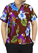La Leela Hawaiian Shirt For Men Short Sleeve Front-Pocket Beach Parrot Navy Blue