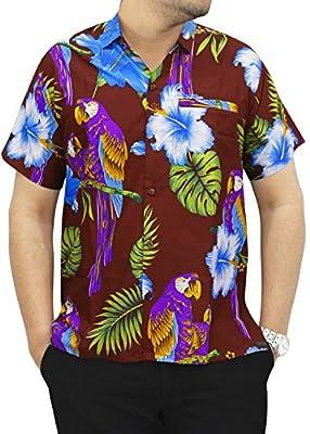 La Leela Hawaiian Shirt For Men Short Sleeve Front-Pocket Beach Parrot Navy Blue