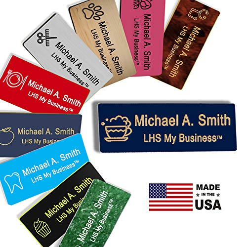 LHS My Business | Name Badges Magnetic Backs - Custom Engraved Navy Blue Plastic Nametag with Gold Lettering Personalized in The USA - B10]()