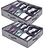 Homyfort Under The Bed Shoe Storage Organizer for Closet Solution, Racks Container with Front Zippered Closure,Clear Cover Store 12 Pairs (Under The Bed Shoe Storage Set of 2)