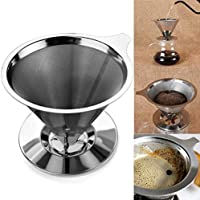 Pour Over Coffee Cone Dripper with Cup Stand. Premium quality Stainless Steel Reusable Drip Cone Coffee Filter Great for Single Cup Coffee Brewer