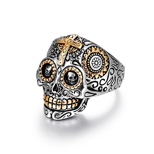 (LAOYOU Sugar Skull Rings Punk Rock Jewelry for Men Women Girls Ladies,Stainless Steel Biker Gothic Cross,Black Vintage Day of The Dead Mens Promise Wedding Engagement Ring Size)
