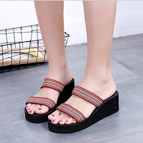 Hatop Slipper, Mujer Verano Bohemia Beach Platform Zapatillas De Baño Wedge Slope Zapatillas Zapatos Rojo