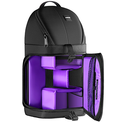 Neewer Professional Sling Camera Storage Bag Durable Waterproof and Tear Proof Black Carrying Backpack Case for DSLR Camera, Lens & Accessories NW-XJB02S (Purple Interior)