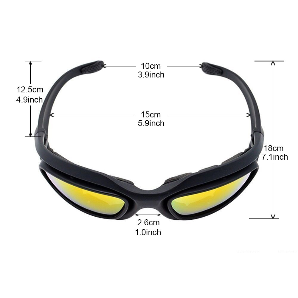 UIM-Shop Polarized Field Motorbike Driving Riding Ski Goggles Glasses -Padded Motorcycle Mirrors Set Black Frame with 4 pair of Lenses by UIM-Shop (Image #3)