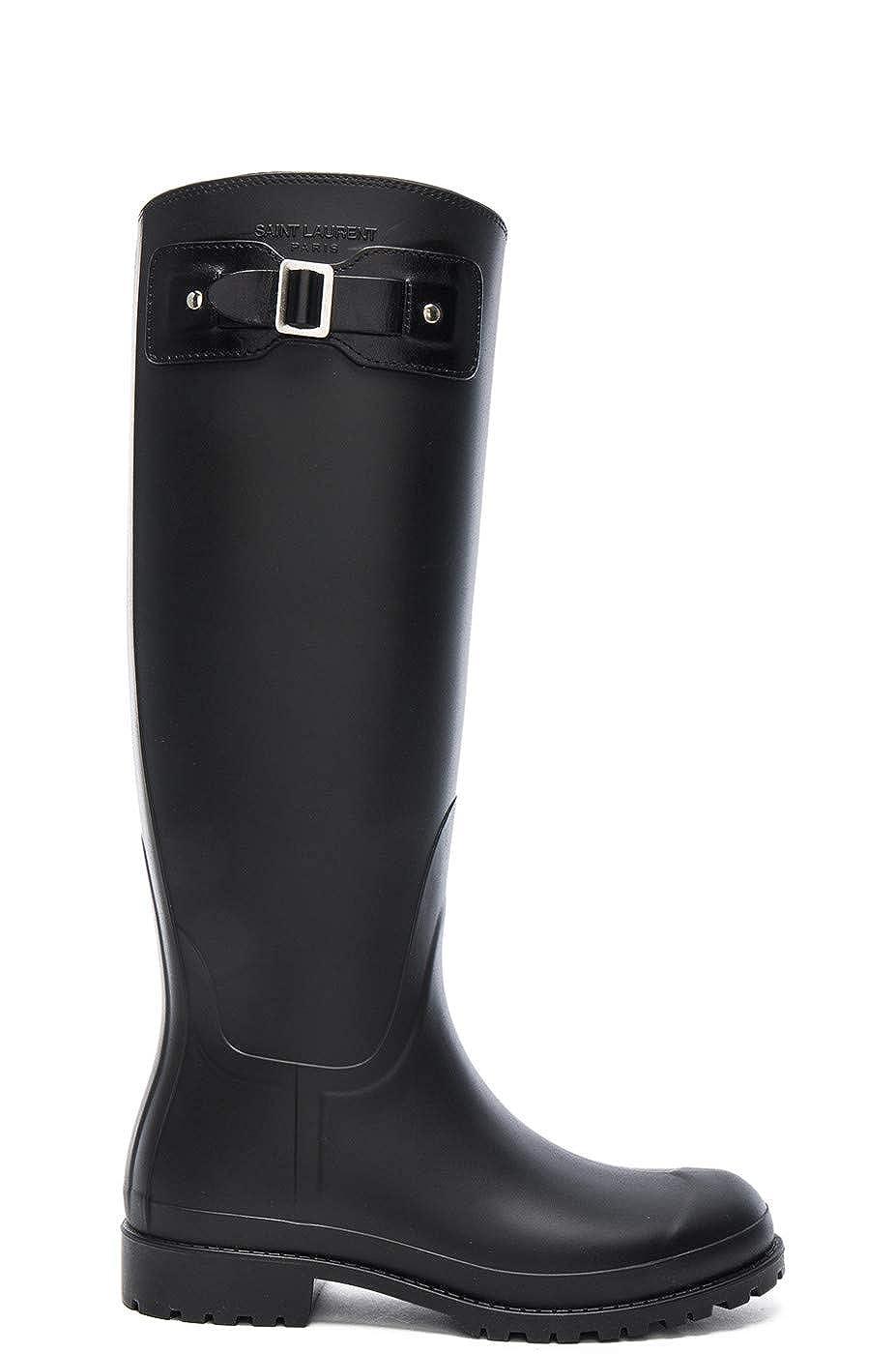 f7a10e5436e Amazon.com | Saint Laurent Women's Black Rubber Festival Buckle Rain Boots  Shoes, US 5 / EU 35, Black | Shoes