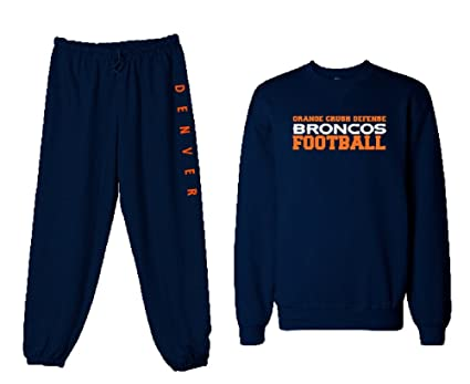 eaa0d1fdd10 Unisex Mens Womens Custom Navy Broncos Orange Crush Defense Football  Sweatshirt Sweatpants Set Personalization Available (