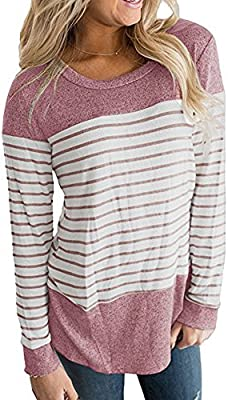 Womens Long Sleeve Round Neck T Shirts Striped Causal Loose Blouses Tops Pullover