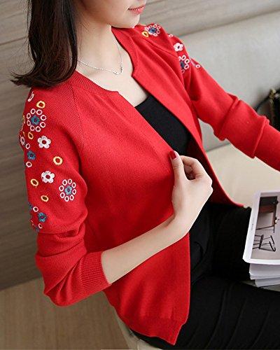 Grande Chaud Gilet Rouge Femme Blouson Cardigan Long Veste Manteau Hiver Taille YqnEn4pgfw