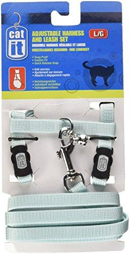 Catit Nylon Adjustable Cat Harness and Leash Set, Large, - Cat Blue Harness Nylon