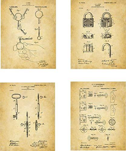 (Key Lock Patent Wall Art Prints - set of Four (8x10) Unframed - wall art decor with key theme )