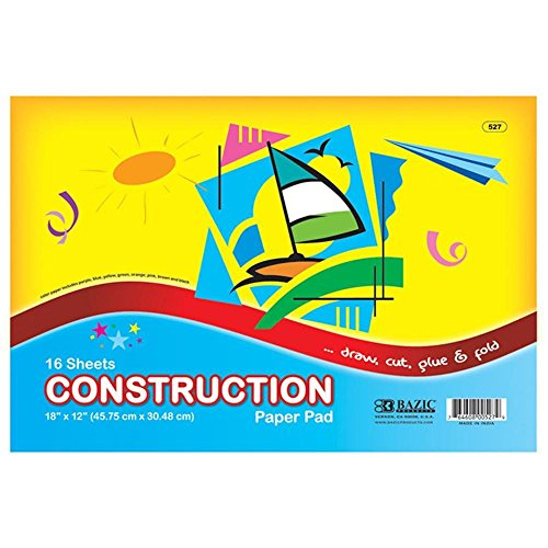 Bulk Buys BAZIC 16 Ct. 18 in. X 12 in. Construction Paper Pad - Case of 48 by Bazic