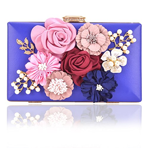 Beaded Leather Shoulder Bag (Women Flower Clutches Handbags Designer Evening Bags Prom Party Wedding Cocktail Purses with Pearls Beaded (Royal Blue))