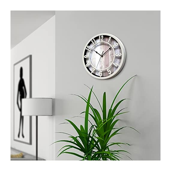 SUNBRIGHT 12 Inch Rustic Decorative Noiseless Wall Clock Silent Non-Ticking for Home, Office, School, Cream - Wall clock features cream Plastic round frame, and like natural solid wooden look printed background Large numerals and black analog contrast with background make you easy to read Quiet sweep second hand, no ticking for peace and quiet.Quartz movements guarantee an accurate time. - wall-clocks, living-room-decor, living-room - 51TAHK7v6oL. SS570  -