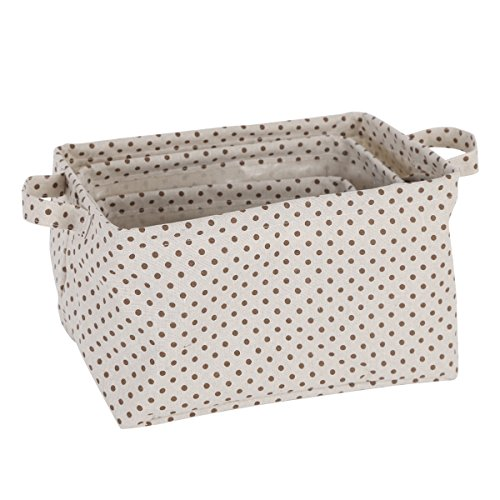 Neoviva PVC Coated Cotton Foldable Open Storage Bin with Handles, Waterproof, Set of 3, Canvas Polka Dots Brown