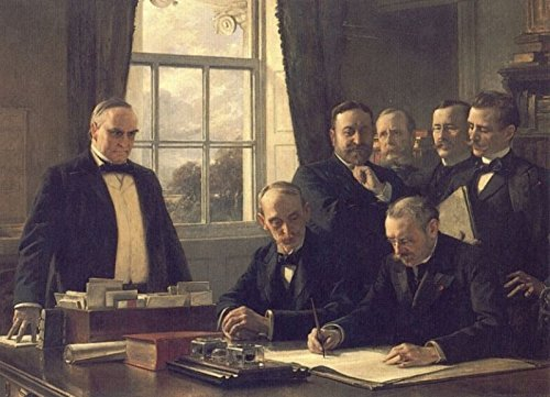 Signing of the Peace Protocol Between Spain and the United States, August 12, 1898- by Theobald Chartran - 21'' x 28'' Premium Canvas Print by Canvas Art USA