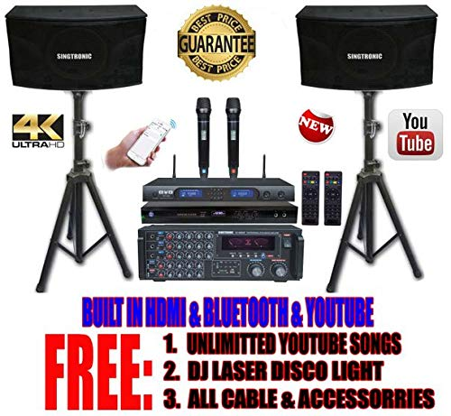 SINGTRONIC PROFESSIONAL 2000 WATTS COMPLETE KARAOKE SYSTEM PACKAGE FREE: UNLIMITED YOUTUBE SONGS, BUILT HDMI & BLUETOOTH ()