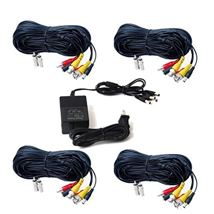 Amazon Videosecu 4 Pack Audio Video 100ft Hd Security Camera. Videosecu 4 Pack Audio Video 100ft Hd Security Camera Cables Premade Allin. Wiring. One Ac Adapter Wiring Wire At Scoala.co
