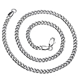 AmyRT Jewelry 4mm Silver Titanium Steel Link Curb Chain Necklace for Men Women 16 - 30 Inch