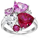 Sterling Silver Created Ruby, Pink and White Sapphire Ring, Size 7