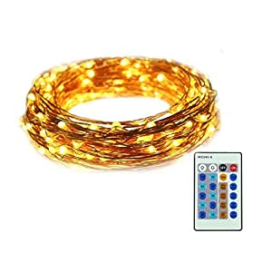 Spinex Fairy String Lights -100 LEDs - 33ft Copper Wire 8 Mode - Ambiance Lighting with Remote Control for Christmas, holiday decorations, costumes, parties, centerpieces, or weddings (Warm White)